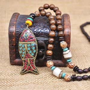Jewelry - Hand-made Mala Wood pendant and necklace